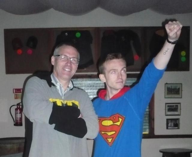 Batman & Superman. Sam is Superman. Not sure who Batman might be... ;-)