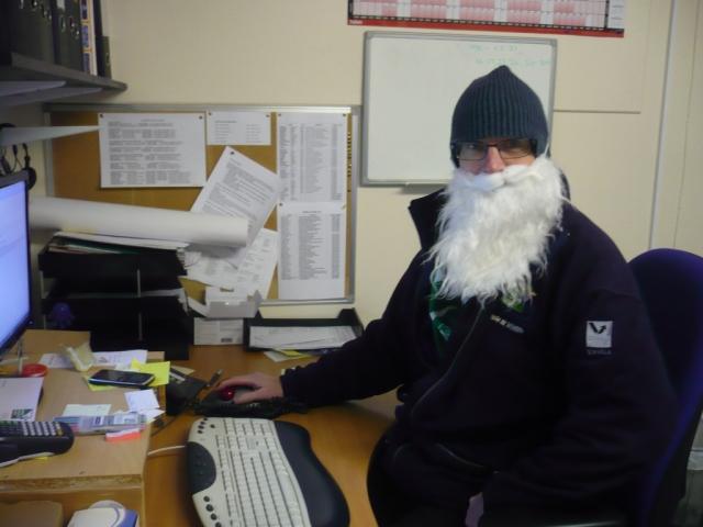 Santa is his February gear..