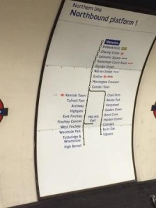 Northern line from Waterloo to Goodge Street. I was there..