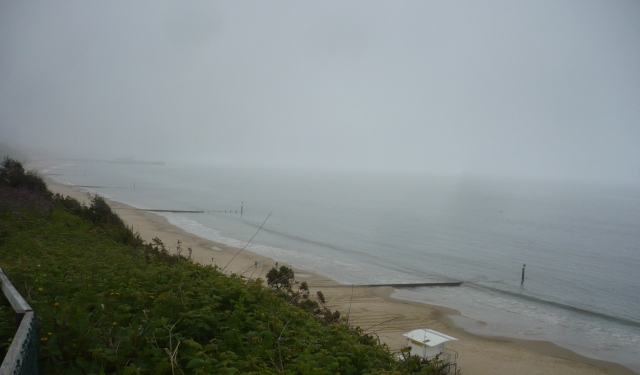 The view from the clifftop at Alum Chine this morning.  Not even just hazy, this was fog.