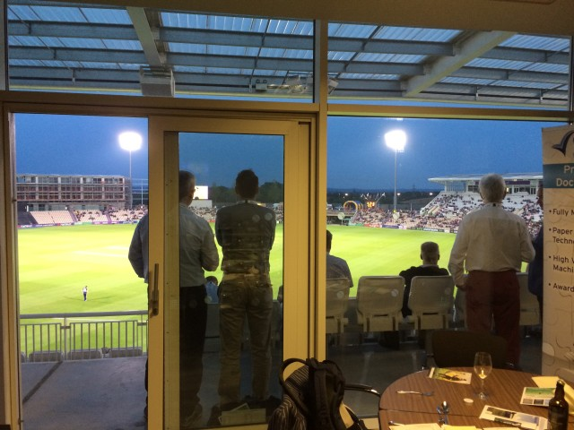 Inside the box, looking out onto our balcony and the pitch beyond.  Not bad at all!