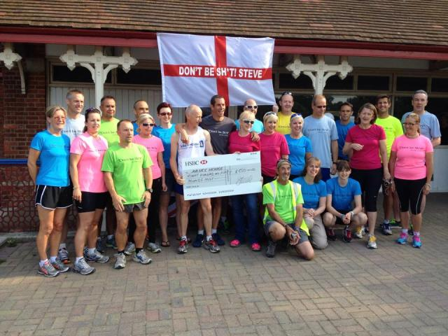 Steve and his band of runners. Complete with a massive cheque!