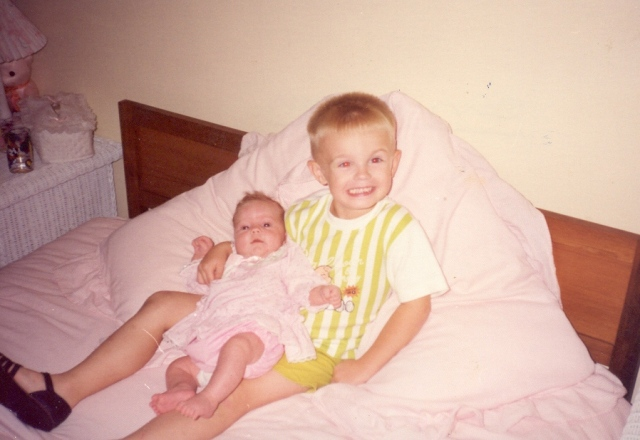 Beth in her early years, with big brother Sam.