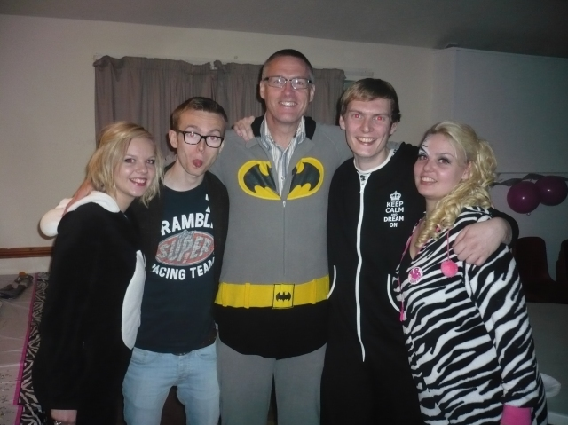From left: Beth, Sam, some geezer dressed as Batman, Josh, Hannah.